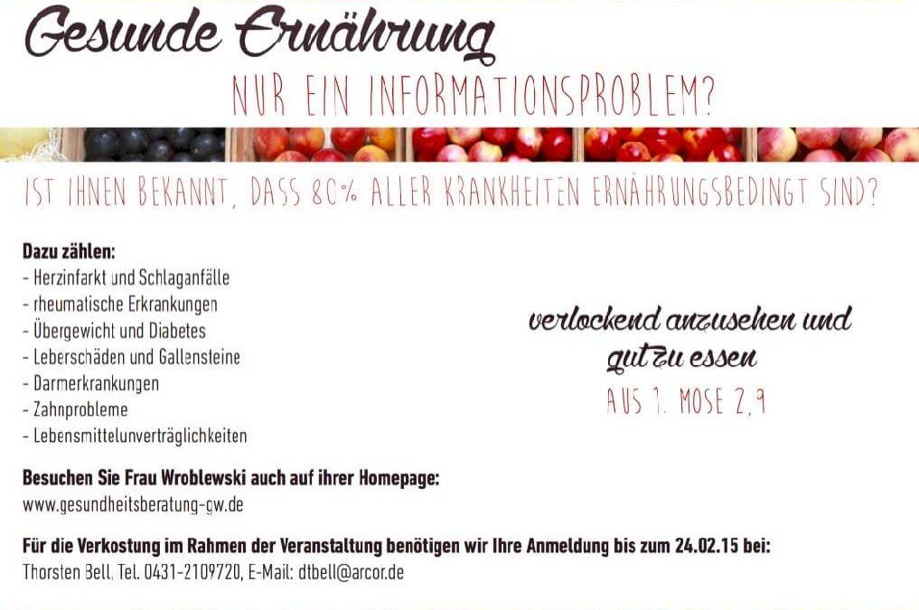 Einladung zum Vortrag von Gisela Wroblewski über gesunde Ernährung im Gemeindehaus der Apostel-Kirchengemeinde Kiel